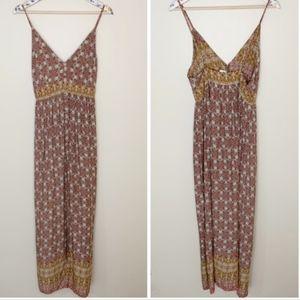 NWT LF bohemian print maxi dress w/side slit Small